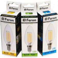 Лампа LED Feron   5w LB-68 4LED E14 4000K филамент свеча  диммируемая