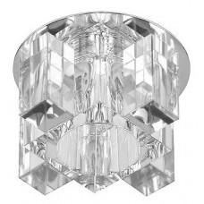"DK63 CH/WH/BR Светильник ЭРА декор ""хрустальнй куб с вертик столб.2"" G9,220V, 40W,  хром/прозрачный/"