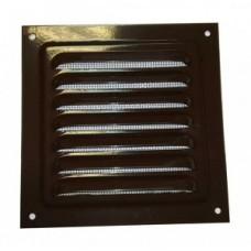 1212МЭ кор, Решетка вентиляционная с покрытием полимерной эмалью, с сеткой 125х125, Сталь,коричневая