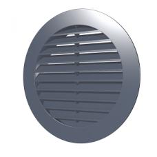 10РКН сер, Решетка наружная вентиляционная круглая D130 с фланцем D100, ASA, серая