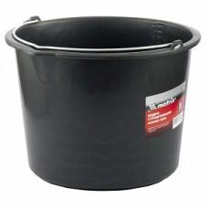 Ведро пластиковое строительное небьющиеся 14 литров черное с  металлической ручкой (1200 палетта)