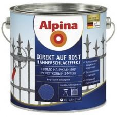 "Alpina Эмаль молотковая ""Прямо на ржавчину"" Direkt A Rost Hammerschlageffekt черная  0,75л"