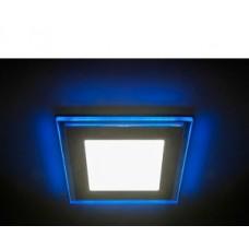 Светильник LED 4-9 BL  ЭРА светодиодный квадратный c cиней подсветкой LED 9W  540LM 220V 4000K
