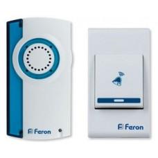 Звонок FERON E-221 белый, синий беспроводной 2*1.5V/AAA, 32 мелодии (60)