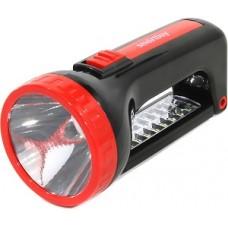 Аккумуляторный фонарь-прожектор 2 в 1 1W+12 SMD, черный (SBF-303-K)