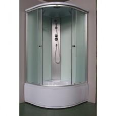 Душевая кабина KS-ZQ 206B 100*100,выс.под., рифл. ст., белое заднее стекло 3к
